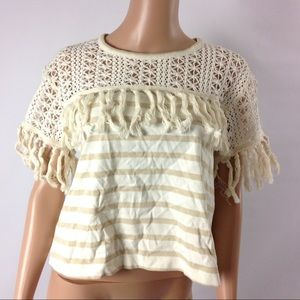 New See By Chloe Jersey Striped Tassel Top Shirt M